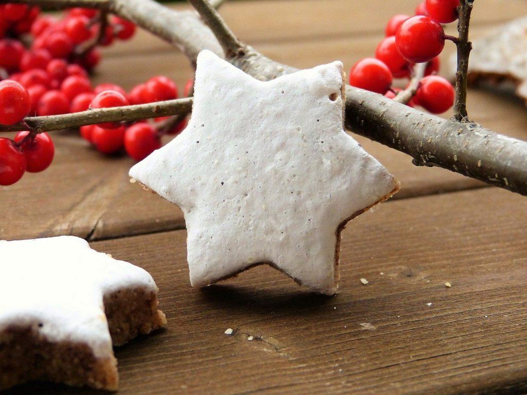červené vianočné bobuľky a perník